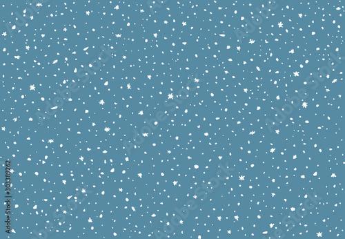 Obraz Snowfall texture for flat design. Evenly falling snow. - fototapety do salonu