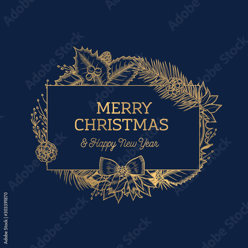 Fotomural Merry Christmas Happy New Year botanical card