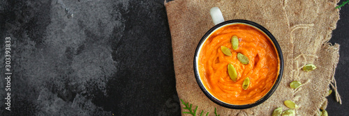 pumpkin soup (first course, delicious vegetable vitamin food) menu concept. food background. copy space. Top view