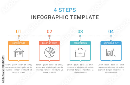 Photo  Infographic Template with 4 Steps