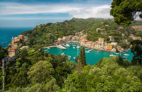 Panorama of Portofino town with multicolored houses and villas, sea and harbor b Poster Mural XXL