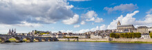 Cityscape Blois With The Cathedral Of St. Lois And Ancient Stone Bridge Over Loire River, Loir-et-Cher In France