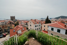 Beautiful Cityscape With Red Tiled Roofs Of Split Old Town, Croatia.