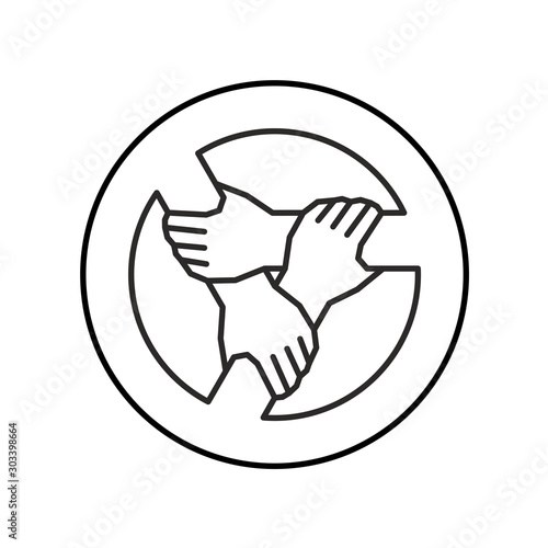 Carta da parati Three hands together support each other outline style logo