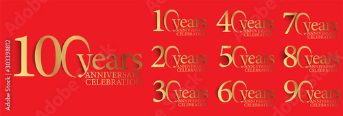Photo set of anniversary logotype style with handwriting golden color for celebration event, wedding, greeting card, and invitation