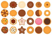 Illustration On Theme Big Set Different Biscuit, Kit Colorful Pastry Cookie
