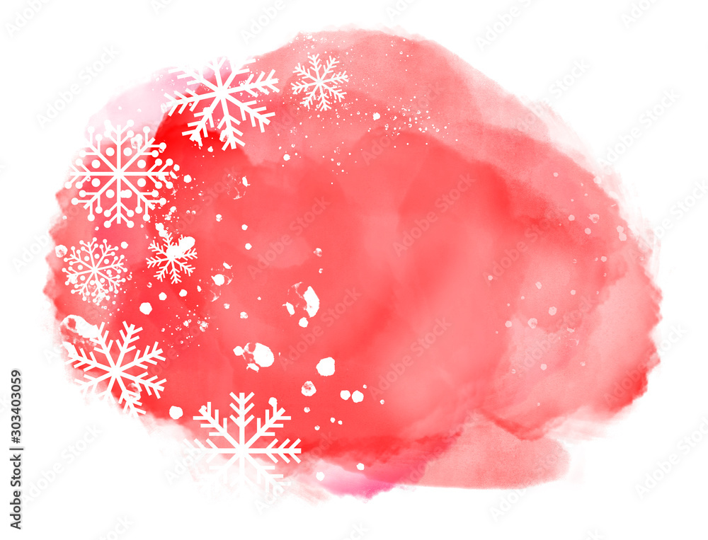Fototapeta Abstract winter landscape on red watercolor splash with snowflakes on white background and copy space...