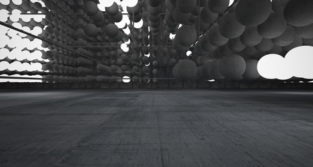 Abstract architectural concrete interior from an array of spheres with neon lighting. 3D illustration and rendering.