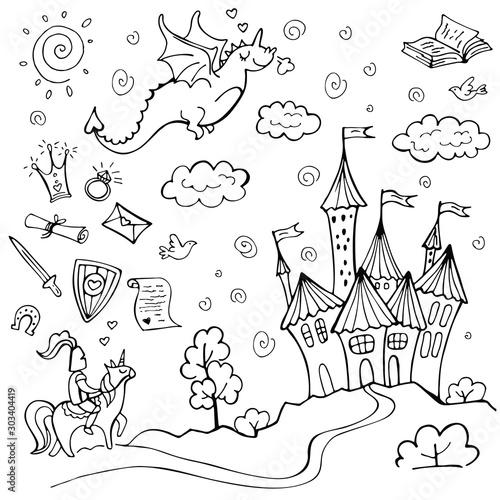 Fotografie, Tablou Hand drawn doodle fairytale set isolated on white