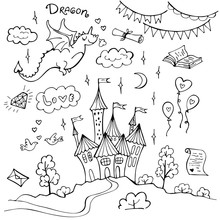 Hand Drawn Doodle Dragon And Fairytale Set Isolated On White. Vector Illustration. Perfect For Invitation, Greeting Card, Coloring Book, Textile Print.