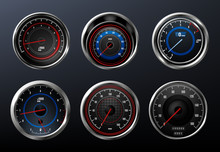 Car Speedometer, Tachometer For Dashboard. Analog Device For Measuring Speed. Vector Illustration