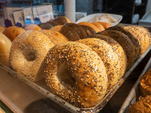 Tray Of Bagels In A Bakery.