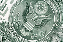 Eagle Macro Close-up On A US 1 Dollar Banknote. Detail Of One Dollar Bill