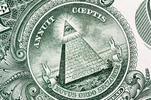 Pyramid Macro Close-up On A Banknote Of 1 US Dollars. Detail Of One Dollar Bill. Big Large Size.