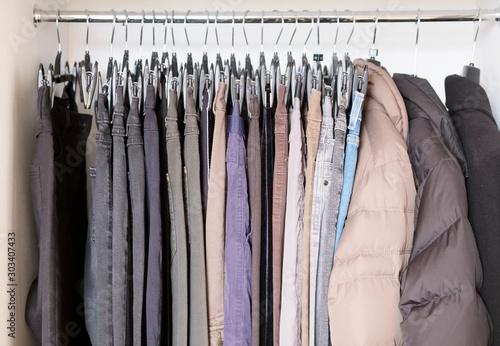 Fotografía Charity clothes hanging up in wardrobe