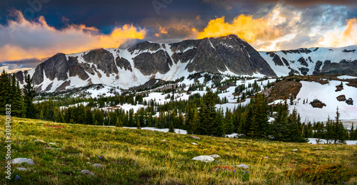 Summer Alpine Sunset in Wyoming's Snowy Range Mountains Near Laramie, Wyoming Wallpaper Mural