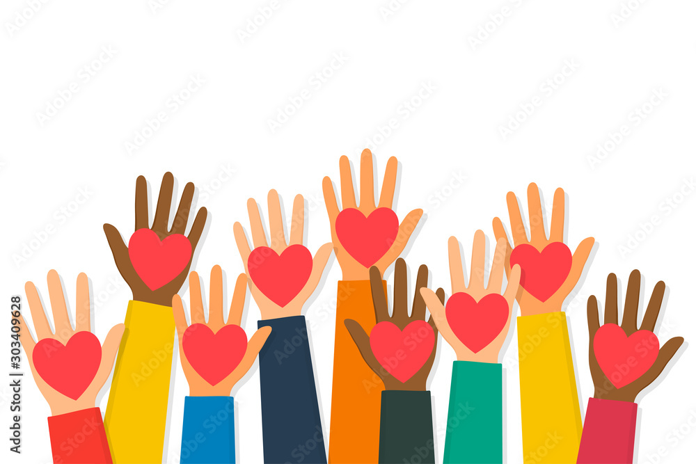 Fototapeta Charity, volunteering and donating concept. Raised up human hands with red hearts. Children's hands are holding heart symbols