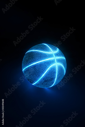 Pinturas sobre lienzo  3D Rendering of creative basketball with glowing neon seams