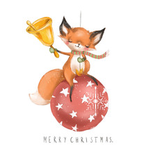 Cute Watercolor Fox Christmas Illustration. Fox With Bell Sitting On The Red Christmas Ball With Snowflake