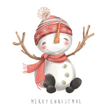 Cute Snowman In Red Hat And Sc...