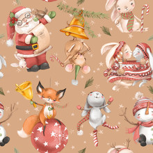 Cute Christmas, Winter Holidays Seamless Pattern. Santa Claus, Mouse, Bunny, Fox, Snowman And Snowflakes On Beige Background