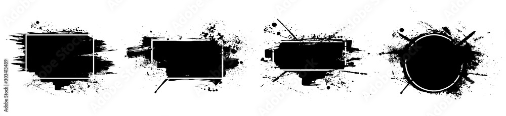 Fototapeta Black grunge with frame. Dirty artistic design elements, boxes, frames for text. Black splashes isolated on white background. Set of black paint, ink brush strokes, brushes, lines. Vector set