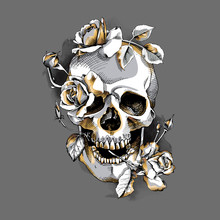 Metallic Skull With A Gold Ros...