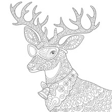 Coloring Page With Christmas Reindeer