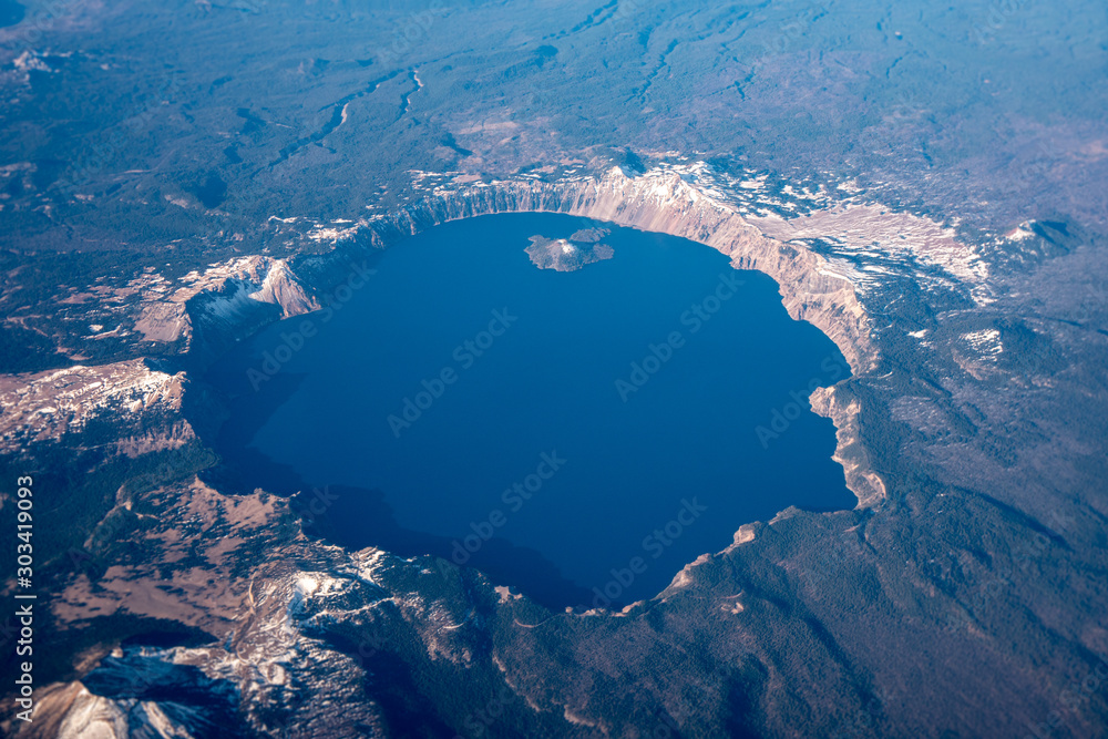 Fototapety, obrazy: Aerial view of Crater Lake, Oregon