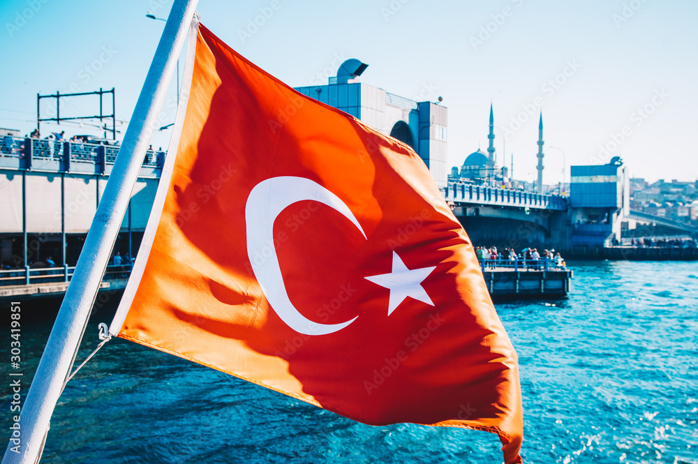 Fototapeta National Turkish flag with boats and ships on water