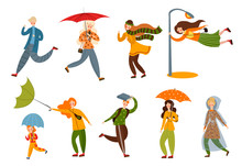 Set Of Various People On A Rainy And Windy Day. Vector Illustration In Flat Cartoon Style.