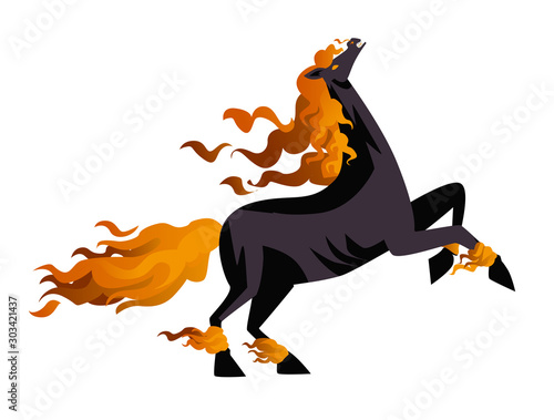 evil dark hell nightmare fire horse Fototapet