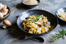 Vegetarian Barley Risotto With Roasted Mushrooms, Fennel And Parmesan Cheese Slices