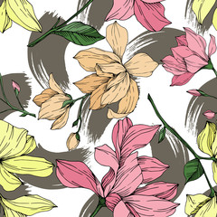 Panel Szklany Podświetlane Do biura Vector Magnolia floral botanical flowers. Black and white engraved ink art. Seamless background pattern.