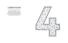 Number 4 Low Poly Design, Mathematics Abstract Geometric Image, Four Wireframe Mesh Polygonal Vector Illustration Made From Points And Lines On White Background