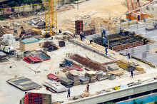Aerial View Of Construction Site, Construction Of New Building In Residential Area