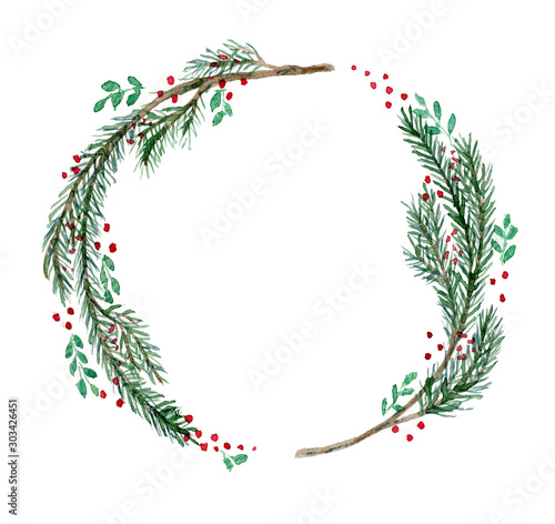 Cute watercolor Christmas wreath with fir twigs, branches and red berries Obraz na płótnie
