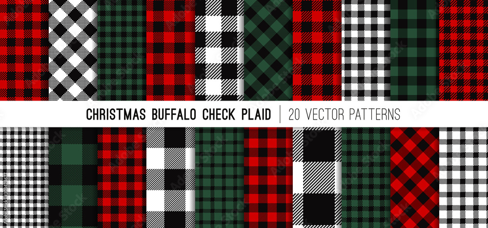 Fototapeta Christmas Buffalo Check Plaid Vector Patterns in Red, Green, White and Black. Set of 20 Lumberjack Flannel Shirt Fabric Textures. Rustic Xmas Backgrounds. Pattern Tile Swatches Included.