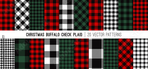 Fototapeten Künstlich Christmas Buffalo Check Plaid Vector Patterns in Red, Green, White and Black. Set of 20 Lumberjack Flannel Shirt Fabric Textures. Rustic Xmas Backgrounds. Pattern Tile Swatches Included.