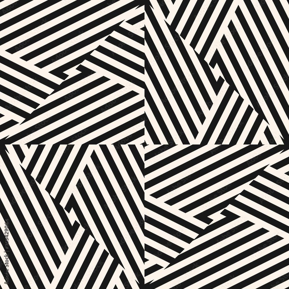 Fototapeta Vector black and white geometric seamless pattern with diagonal stripes, lines