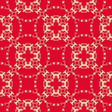 Vector Red And Gold Floral Geometric Seamless Pattern. Elegant Royal Ornament