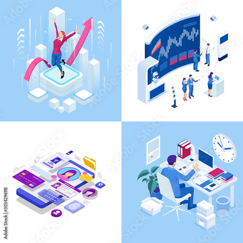 Fotomural Isometric business concepts
