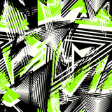 Fototapeta Młodzieżowe - Abstract grunge seamless pattern. Urban art texture with neon lines, triangles, chaotic brush strokes. Colorful graffiti style vector background. Trendy design in black, white and bright green color