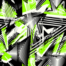 Abstract Grunge Seamless Pattern. Urban Art Texture With Neon Lines, Triangles, Chaotic Brush Strokes. Colorful Graffiti Style Vector Background. Trendy Design In Black, White And Bright Green Color