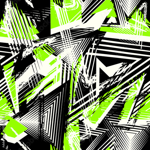 Vector abstract seamless geometric pattern. Modern urban art grunge texture Fototapete