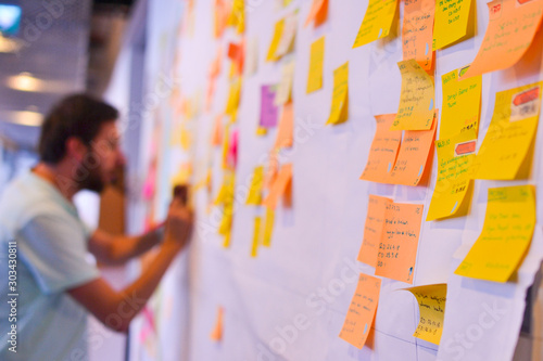 Photo An agile software developer is updating Kanban board