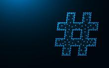 Hashtag Symbol Polygonal Vector Illustration