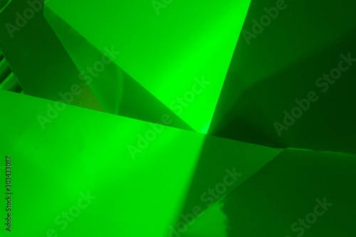Green abstract diagonals background in painted metal	 - 303433087