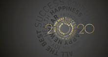 Happy New Year 2020 Modern Circle Word Cloud Text Gold White Black Vector