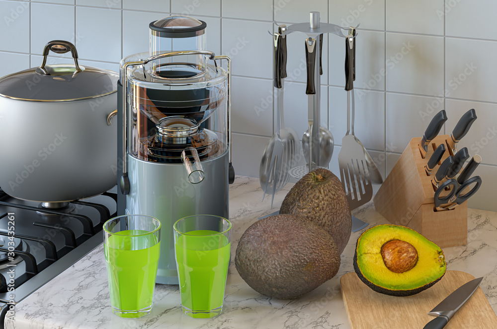 Fototapety, obrazy: Avocado juice and electric juicer on kitchen table. 3D rendering